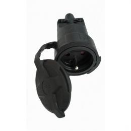 Zásuvka gumová, do vlhka a prachu, pøímá, IP65, èerná, Solight P79
