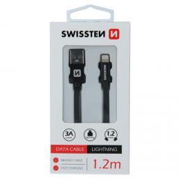 Datový kabel Swissten textile USB / Lightning 1,2 M  èerný - zvìtšit obrázek