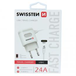 S�ov� nab�je�ka Swissten USB-C 2,4A Power b�l� - zv�t�it obr�zek