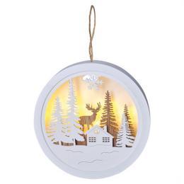 LED dekorace závìsná, les a jelen, bílá a hnìdá, 2x AAA, Solight 1V223-A
