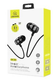 Stereo sluchátka USAMS EP-36 In-Ear Steel Stereo Headset 3,5mm Black (EU Blister)