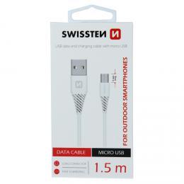 Datový kabel Swissten USB / micro USB 1,5 m bílý (9mm) 71504302