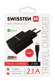S�ov� adapt�r Swissten smart IC 2x USB 2,1A Power + datov� kabel  USB / Type C 1,2m �ern� - zv�t�it obr�zek