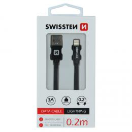 Datový kabel Swissten textile USB / Lightning 0,2 M èerný