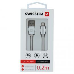 Datový kabel Swissten textile USB / Lightning 0,2 M støíbrný