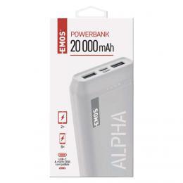 Powerbanka EMOS Alpha 20, 20000 mAh, bílá + kabel USB-C, EMOS B0523W