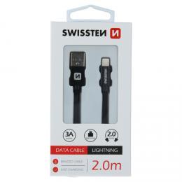 Datový kabel Swissten textile USB / Lightning 2,0 M èerný - zvìtšit obrázek