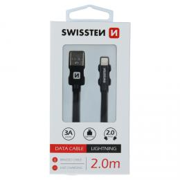 Datový kabel Swissten textile USB / Lightning 2,0 M èerný