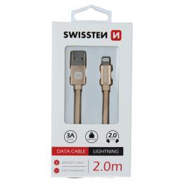 Datový kabel Swissten textile USB / Lightning 2,0 M zlatý, 71523304