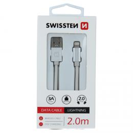 Datový kabel Swissten textile USB / Lightning 2,0 M støíbrný, 71523303