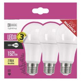 LED žárovka Classic A60 14W E27 teplá bílá, 2700k, 1521lm, 3 ks, EMOS ZQ5160.3