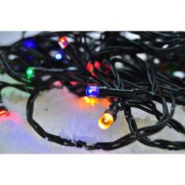 LED venkovní vánoèní øetìz, 50 LED, 5m, pøívod 3m, 8 funkcí, èasovaè, IP44, vícebarevný, Solight 1V110-M