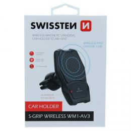 Magnetický držák do ventilace auta Swissten s bezdrátovým nabíjením WM1-AV3