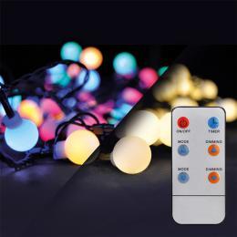 LED 2v1 venkovní vánoèní øetìz, koule, dálkový ovladaè, 200LED, RGB+bílá, 20m+5m, 8 funkcí, IP44, Solight 1V09-RGB - zvìtšit obrázek