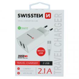 S�ov� adapt�r Swissten SMART IC 2x USB 2,1A Power + datov� kabel USB / micro 1,2 M b�l� - zv�t�it obr�zek