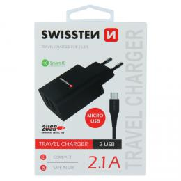 Sí�ový adaptér Swissten SMART IC 2x USB 2,1A Power + datový kabel USB / micro 1,2 M èerný