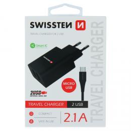Sí�ový adaptér Swissten SMART IC 2x USB 2,1A Power + datový kabel USB / micro 1,2 M èerný, 22052000