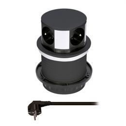Prodlužovací pøívod, 4 zásuvky, èerný, 1,5m, výsuvný blok zásuvek, kruhový tvar, Solight PP100-B