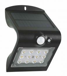 LED solární pøisazené svítidlo FOX SOLAR PIR 12LED B NW, 1,5W, 4000K, IP65, èerné, Greenlux GXSO005
