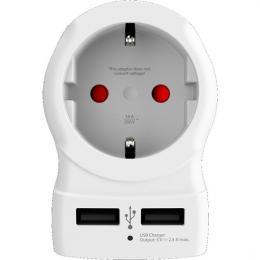 Cestovní adaptér SKROSS UK USB pro použití ve Velké Británii, vè. 2x USB 2400mA, SKROSS PA28USB