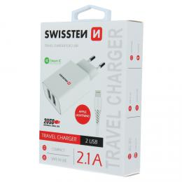 Sí�ový adaptér Swissten SMART IC 2x USB 2,1A POWER + datový kabel USB / Lightning 1,2 M bílý