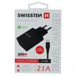 Sí�ový adaptér Swissten SMART IC 2x USB 2,1A POWER + datový kabel USB / Lightning 1,2 M èerný