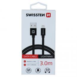 Datový kabel SWISSTEN textile USB / Lightning 3,0 m èerný
