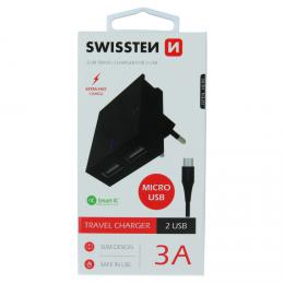 Sí�ový adaptér SMART IC 2x USB 3A POWER + datový kabel USB / MICRO USB 1,2 m èerný