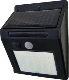 LED nástìnné solární svítidlo s vypínaèem a PIR EMA SOLAR PIR 20LED NW, 4000K, 120lm, IP44, Greenlux GXSO002