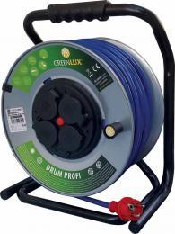 Profesionální prodlužovací kabel navinutý na bubnu DRUM PROFI 3G1,5 50m Greenlux GXPK012