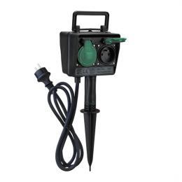 Zahradní sloupek IP44, 2 zásuvky + èasový spínaè, gumový kabel 1,5m, Solight PG03 - zvìtšit obrázek