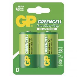 Zinkochloridová baterie velké monoèlánky GP Greencell R20 (D) blistr 2ks, B1241