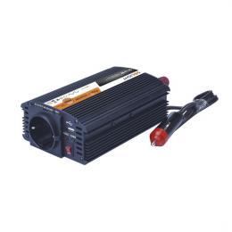 Invertor - mìniè napìtí 12V, USB 500mA, kovový, èerný, max. zatížení: 300W, Solight IN06