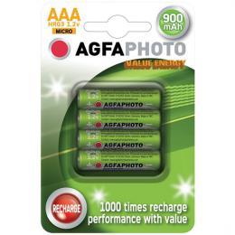 Nabíjecí baterie AgfaPhoto NiMH baterie R06 AAA, 900mAh, blistr 4ks, AP-HR03900VE-4B