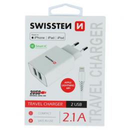 Sí�ový adaptér Swissten Smart IC 2x USB 2,1A Power + kabel USB/Lightning MFi 1,2 m bílý