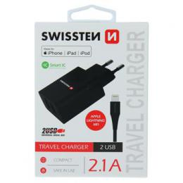 S�ov� adapt�r Swissten Smart IC 2x USB 2,1A Power + kabel USB/Lightning MFi 1,2 m �ern� - zv�t�it obr�zek