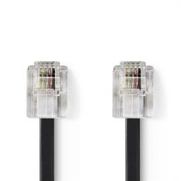 VL telecom RJ11 NEDIS prodlužovací kabel, èerná, 5m, TCGP90200BK50
