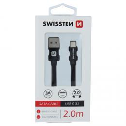 Datový kabel Swissten textile USB / USB-C 2,0 m èerný, 71521301