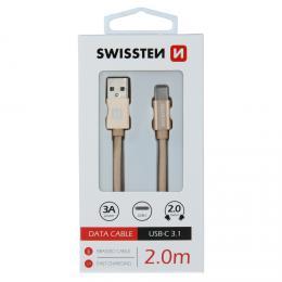 Datový kabel Swissten textile USB / USB-C 2,0 m zlatý, 71521304