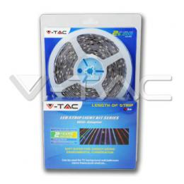 LED pásek V-TAC vodìodolný RGB sada 4,8W/M, 5M, IP65, SMD 5050, 30LED/M, kompletní sada, dálkový ovladaè