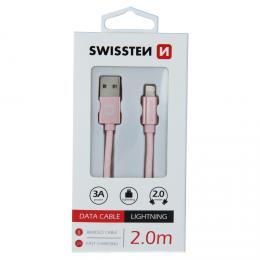 Datový kabel Swissten textile USB / Lightning 2,0 M Rùžovo/Zlatý 71523305