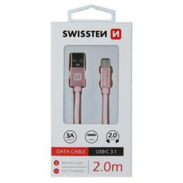 Datový kabel Swissten Textile USB / USB-C 2,0 M Rùžovo / Zlatý, 71521305
