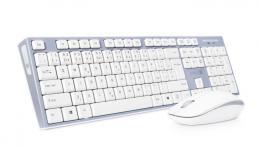 Bezdrátový set optické myši a tenké klávesnice CONNECT IT CKM-7510, bílá-šedá