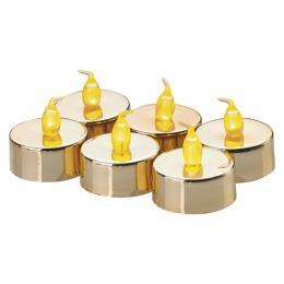 LED dekorace – 6x èajová svíèka zlatá, 6x CR2032, EMOS ZY2151