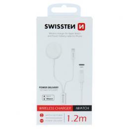 Bezdrátová nabíjeèka Swissten pro Apple Watch a kabelem lightning s technologií Power delivery