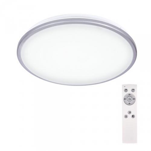 LED stmívatelné stropní svìtlo Silver, kulaté, 24W, 1800lm, stmívatelné, dálkové ovládání, 38cm, Solight WO761