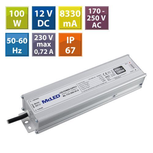 LED napájecí zdroj McLED 100W, DC12V/8,33A, IP67, hliníkový, ML-732.060.45.0