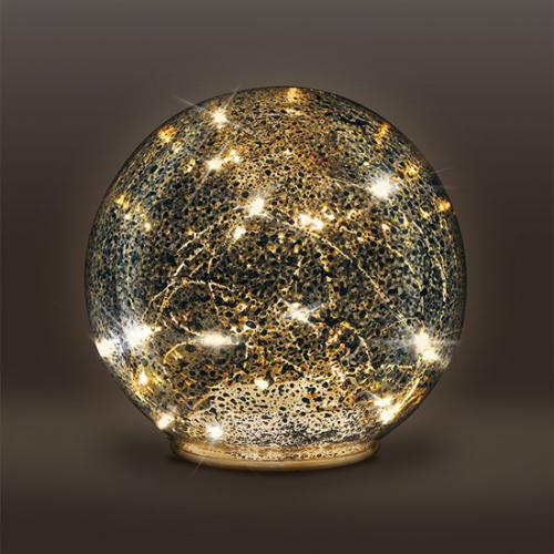 LED sklenìná vánoèní koule, 20LED, mìdìná struktura, 3x AAA, IP20, Solight 1V230 - zvìtšit obrázek