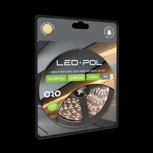 LED pásek LED-POL ORO-STRIP-SMD-2835-NWD-BD-8MM-3M-SET, 220-240V, 14,4W, 720lm, 4000-4500K, ORO09069 - zvìtšit obrázek