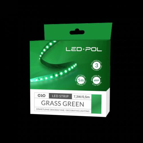 LED páska ORO-STRIP-600L-2835-NWD-GRASS-GREEN, 5m, 7,3W/0,5m, DC 12V, ORO09073